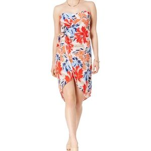 High low strapless floral wrap dress